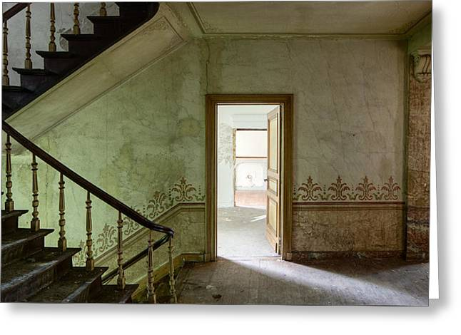 Deserted Castle Greeting Cards - The haunted staircase - abandoned building Greeting Card by Dirk Ercken