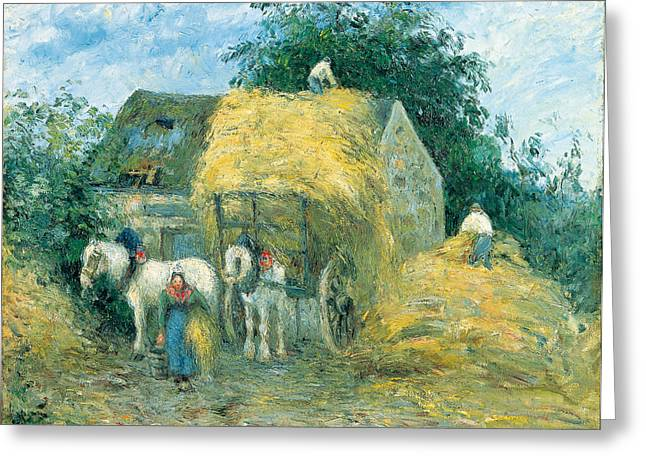 Montfoucault Greeting Cards - The Hay Cart Greeting Card by Celestial Images