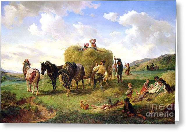 Field. Cloud Paintings Greeting Cards - The Hay Harvest Greeting Card by Hermann Kauffmann
