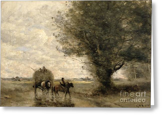 Meadow Scene Greeting Cards - The Haycart Greeting Card by Jean Baptiste Camille Corot