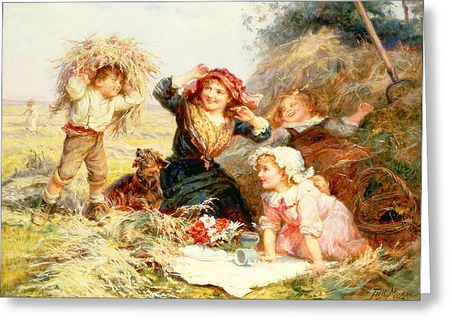 Innocence Paintings Greeting Cards - The Haymakers Greeting Card by Frederick Morgan