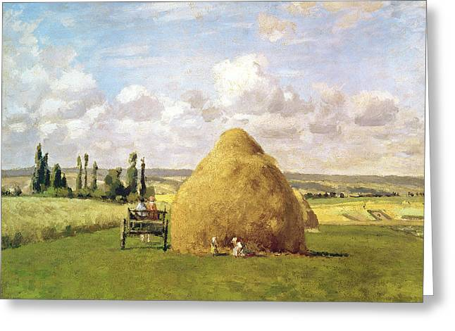 Horse And Cart Paintings Greeting Cards - The Haystack Greeting Card by Camille Pissarro