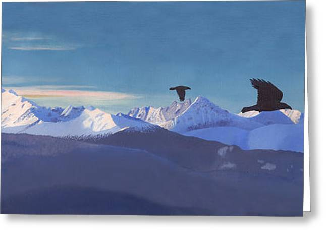 Snow-covered Landscape Greeting Cards - The Hazelton Range Greeting Card by Stanza Widen