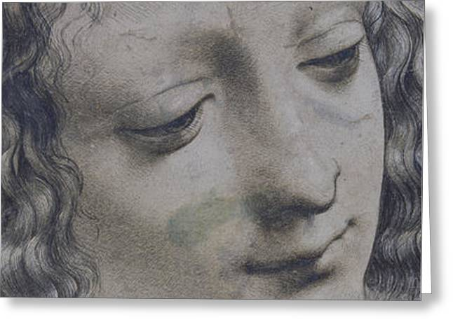 The Head Of A Woman And The Head Of A Baby Greeting Card by Leonardo Da Vinci