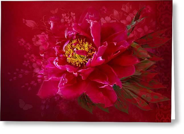 Floral Digital Art Digital Art Greeting Cards - The Heart of Love Greeting Card by Marina Kojukhova