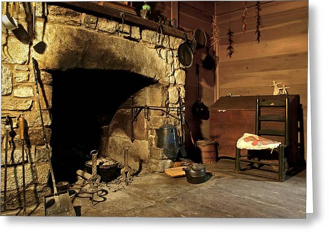 Best Sellers -  - Log Cabin Interiors Greeting Cards - the Hearth Greeting Card by JK York