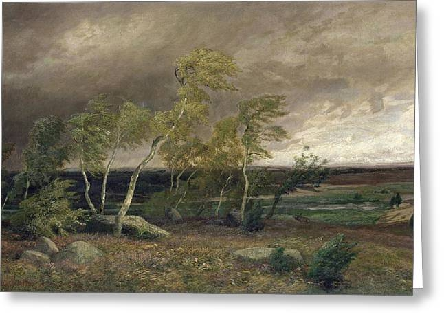 Ruths; Valentin (1825-1905) Greeting Cards - The Heath in a Storm Greeting Card by Valentin Ruths