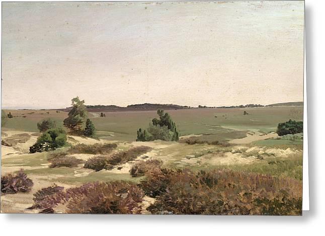 Ruths; Valentin (1825-1905) Greeting Cards - The Heath near Wilsede Greeting Card by Valentin Ruths