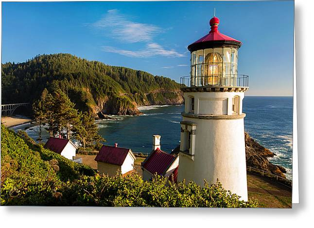 The Heceta Head Lighthouse Greeting Card by Patrick Campbell