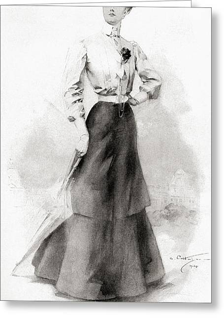 Height Drawings Greeting Cards - The Height Of Fashion In 1904. From The Greeting Card by Vintage Design Pics