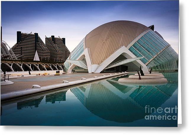 Outdoor Theater Greeting Cards - The Hemisferic in Valencia spain  Greeting Card by Peter Noyce
