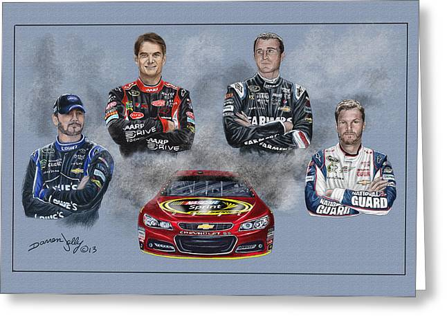 Jimmie Johnson Greeting Cards - The Hendrick Team Greeting Card by Darren Jolly