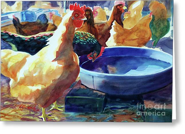 The Henhouse Watering Hole Greeting Card by Kathy Braud