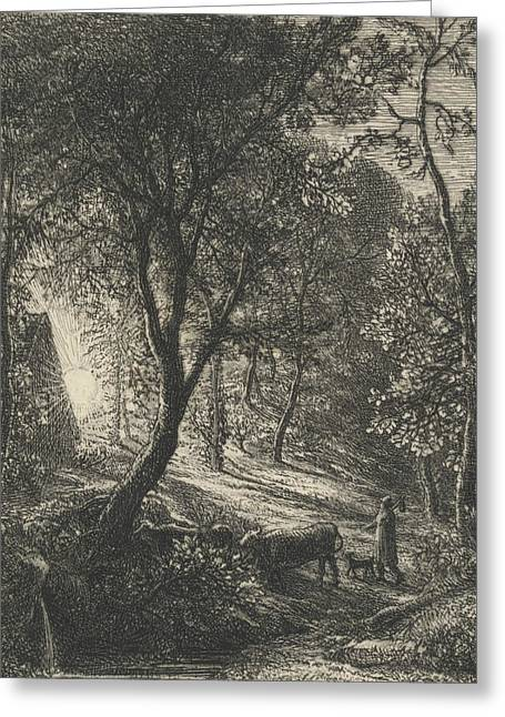 The Herdsman's Cottage Greeting Card by Samuel Palmer