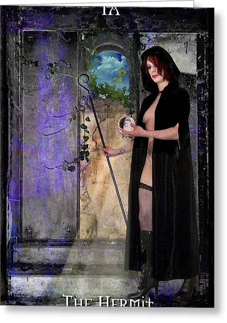 Divine Feminine Greeting Cards - The Hermit Greeting Card by Tammy Wetzel