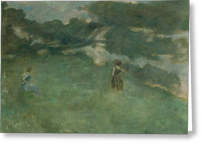 The Hermit Thrush Greeting Card by Thomas Wilmer Dewing