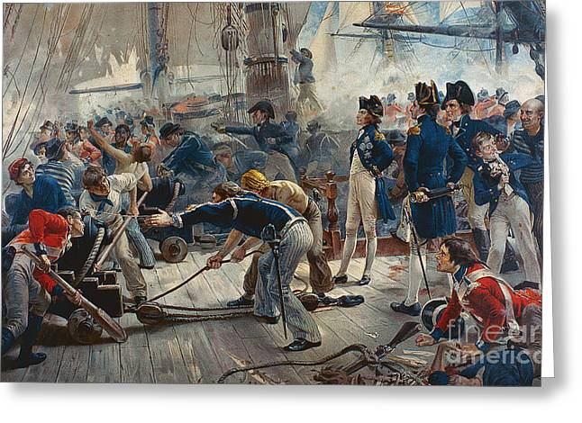Battle Ship Greeting Cards - The Hero of Trafalgar Greeting Card by William Heysham Overend