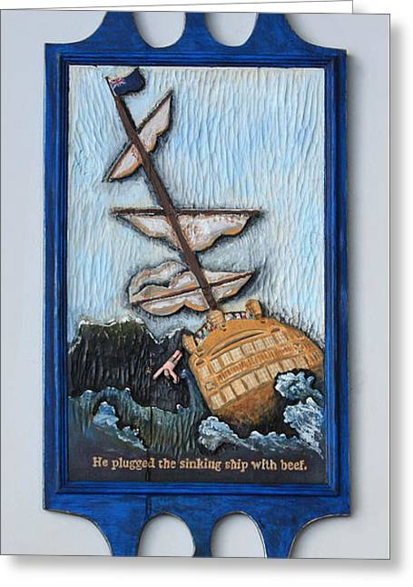 James Reliefs Greeting Cards - The Hero that Saved the Ship by James Coby Neill 2015 Greeting Card by James Neill