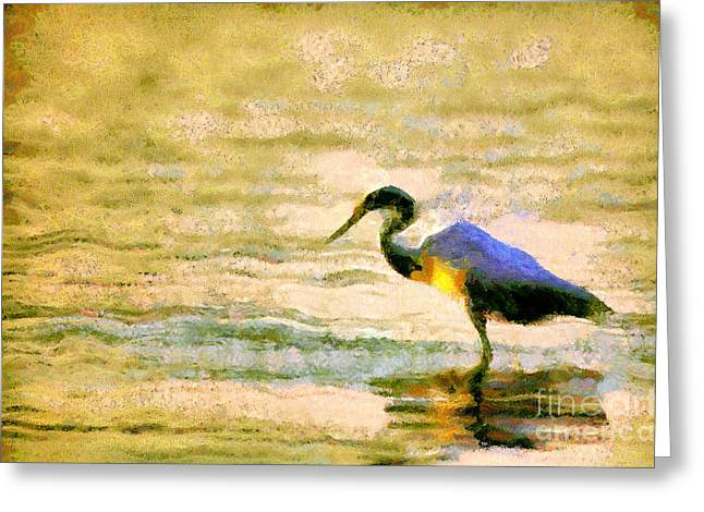 Dewdrops Paintings Greeting Cards - The herons Greeting Card by Odon Czintos