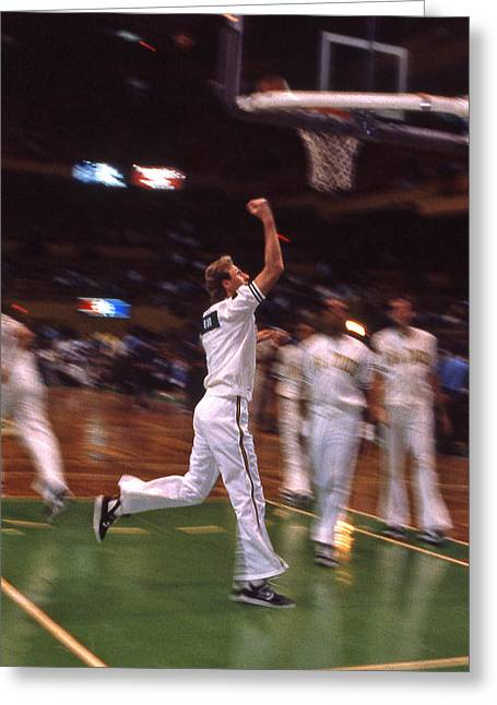 Larry Bird Greeting Cards - The Hick from French Lick Greeting Card by Mike Martin