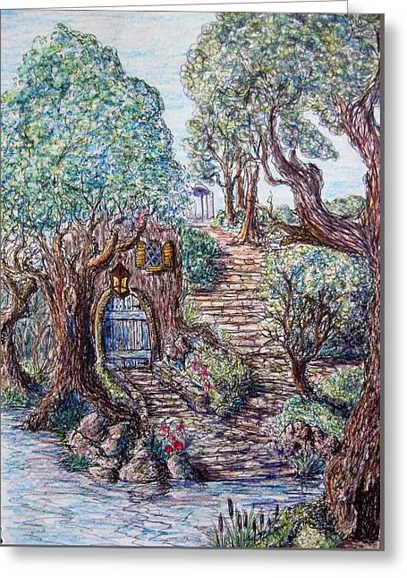 Fantasy Tree Greeting Cards - The hideaway Greeting Card by Megan Walsh