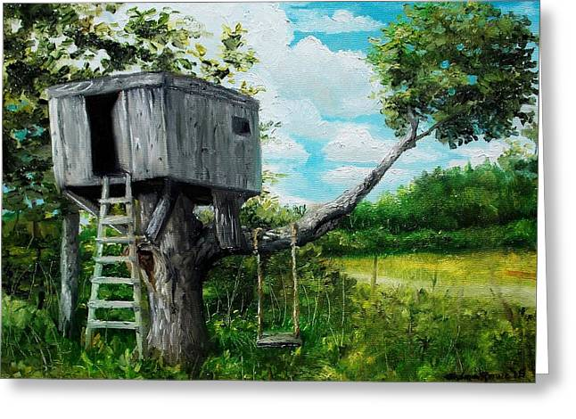 Dilapidated Paintings Greeting Cards - The Hideaway Greeting Card by Shana Rowe