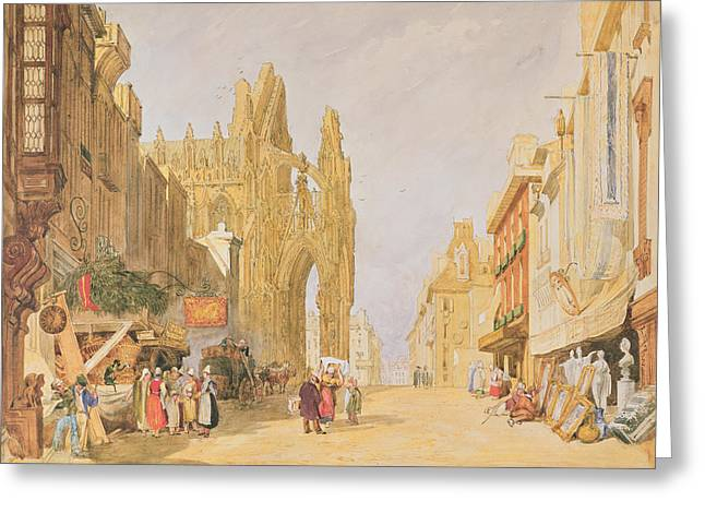 The High Street At Alencon Greeting Card by John Sell Cotman