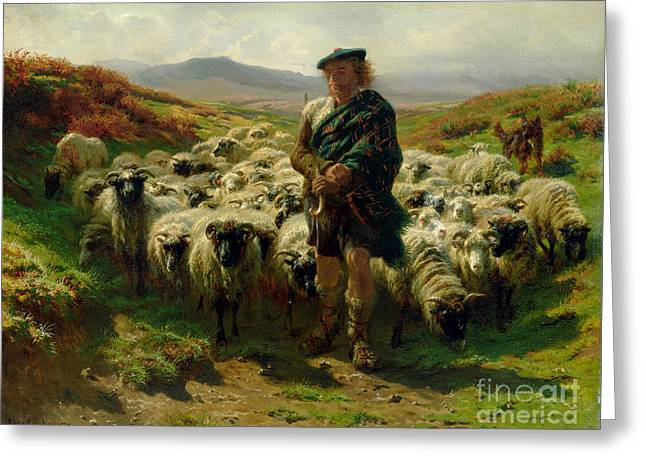 Country Greeting Cards - The Highland Shepherd Greeting Card by Rosa Bonheur