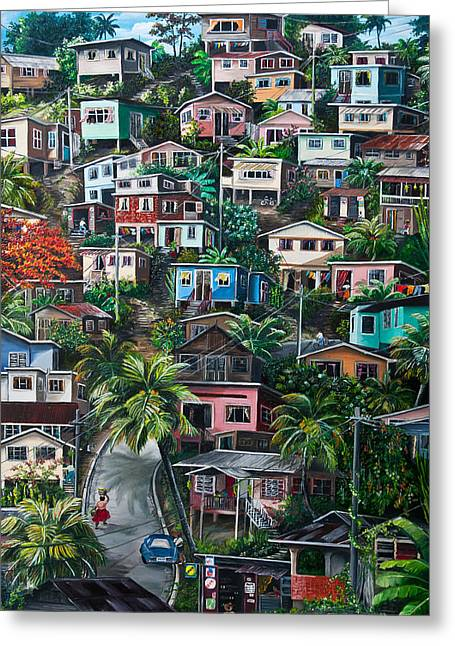 Landscape Cards Greeting Cards - THE HILL     Trinidad  Greeting Card by Karin Kelshall- Best