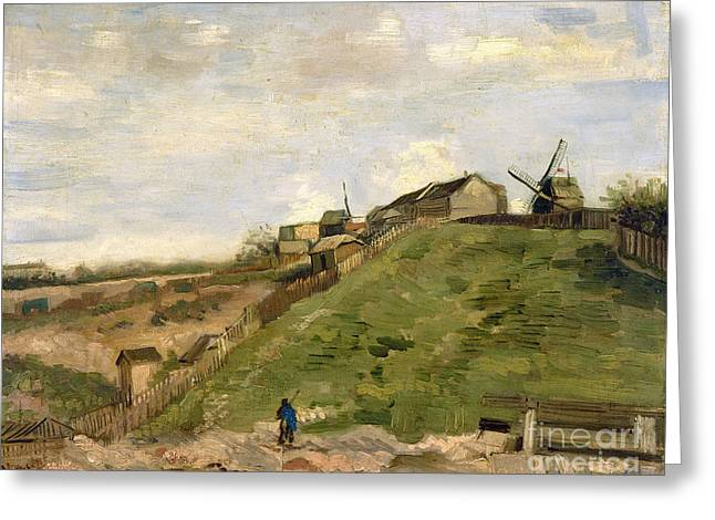 Vintage Painter Greeting Cards - The hill of Montmartre with stone quarry Greeting Card by Van Gogh
