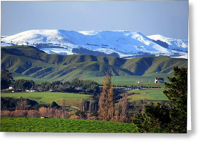 Winter Storm Greeting Cards - The Hills Of Ahiaruhe Greeting Card by Karen Wood
