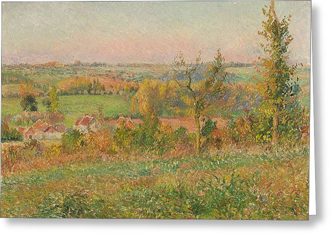 The Hills Of Thierceville Seen From The Country Lane Greeting Card by Camille Pissarro