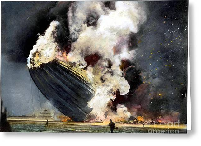 Action Photo Greeting Cards - The Hindenburg, 1937 Greeting Card by Granger