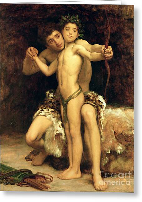 Classical Paintings Greeting Cards - The Hit Greeting Card by Frederic Leighton