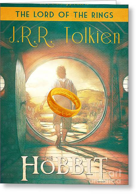 The Hobbit Lord Of The Rings Book Cover Movie Poster Art 1 Greeting Card by Nishanth Gopinathan
