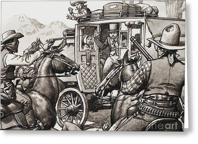 The Hold Up Of The First Stage Coach To Pass Through Palm Springs Greeting Card by Pat Nicolle