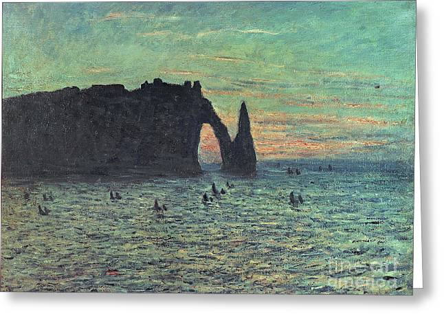 Needle Paintings Greeting Cards - The Hollow Needle at Etretat Greeting Card by Claude Monet