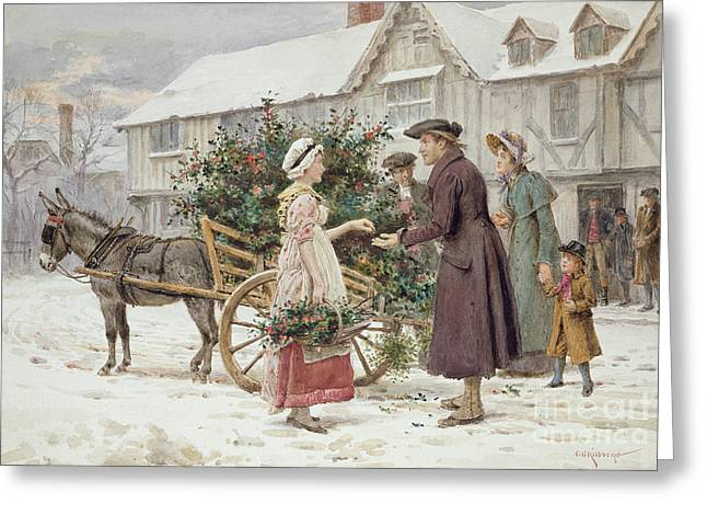 Chimney Paintings Greeting Cards - The Holly Cart Greeting Card by George Goodwin Kilburne