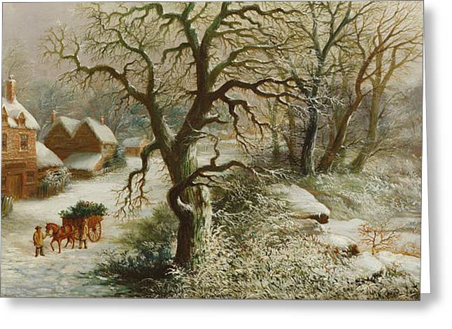 The Holly Cart Greeting Card by William Oliver Stone