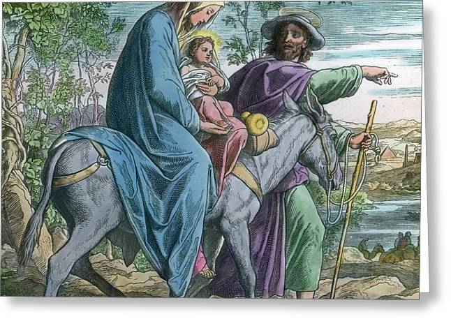 The Holy Family And The Flight Into Egypt Greeting Card by German School