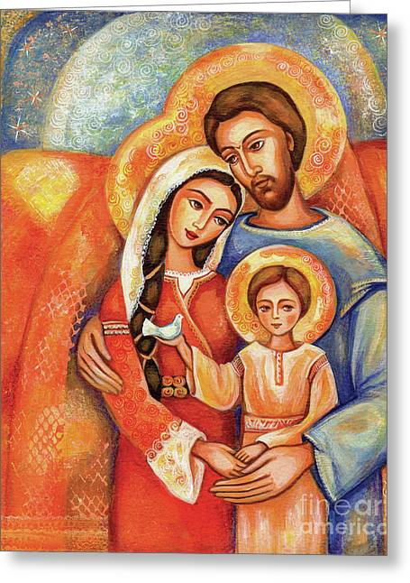 The Holy Family Greeting Card by Eva Campbell