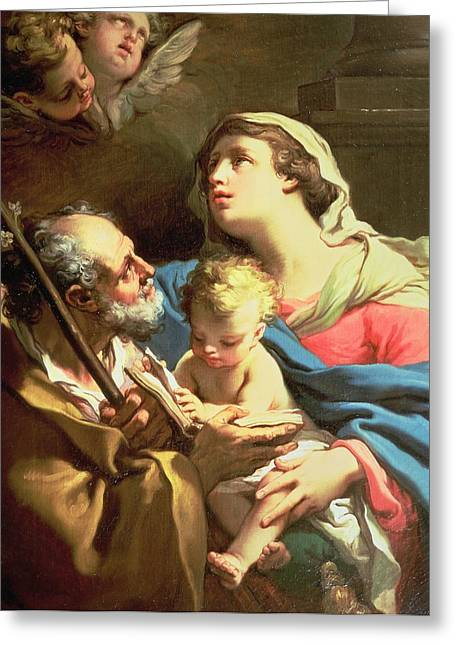 Worship God Paintings Greeting Cards - The Holy Family Greeting Card by Gaetano Gandolfi