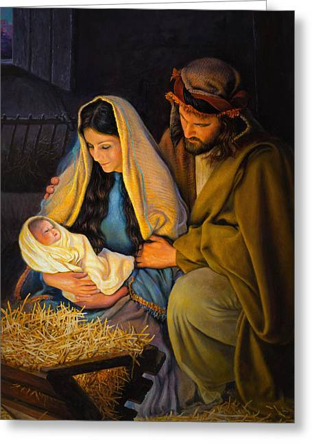 Child Jesus Greeting Cards - The Holy Family Greeting Card by Greg Olsen