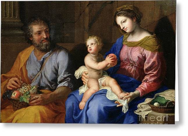 Christ Child Greeting Cards - The Holy Family Greeting Card by Jacques Stella