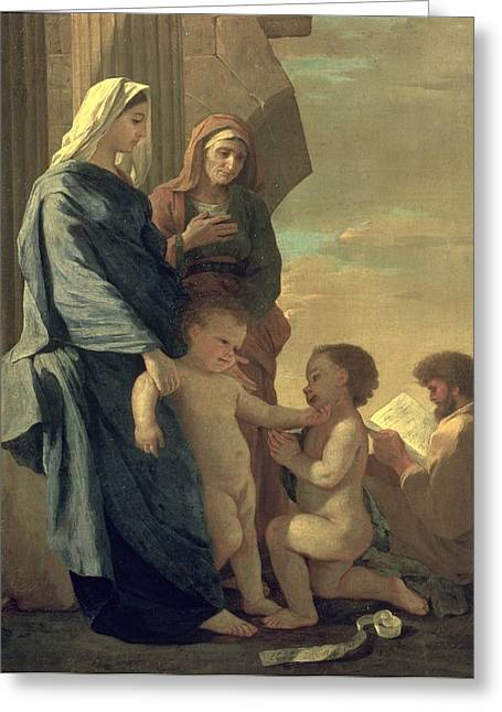 Poussin; Nicolas (1594-1665) Greeting Cards - The Holy Family Greeting Card by Nicolas Poussin