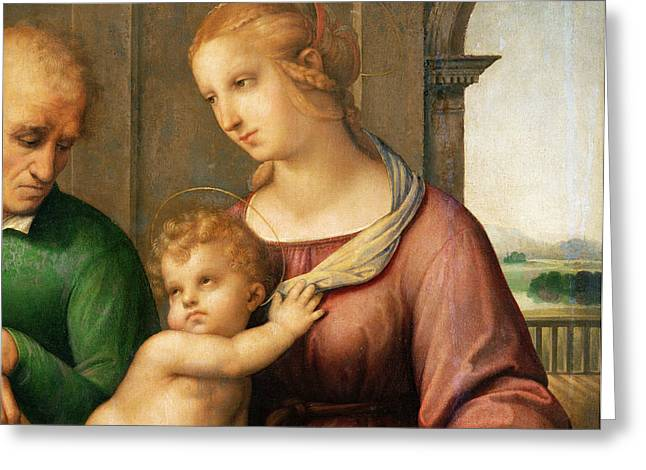 The Holy Family Greeting Card by Raphael