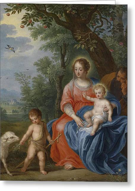 Bible Scene Greeting Cards - The Holy Family with John the Baptist and the Lamb Greeting Card by Jan Brueghel the Younger