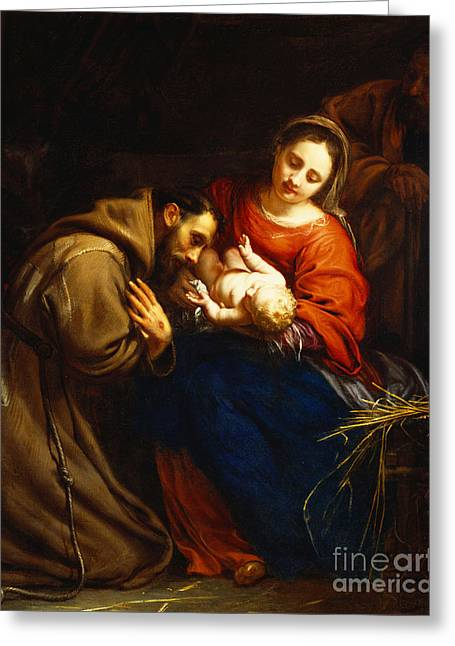 Mary Greeting Cards - The Holy Family with Saint Francis Greeting Card by Jacob van Oost