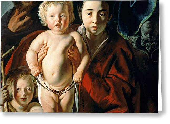The Holy Family with St. John the Baptist Greeting Card by Jacob Jordaens