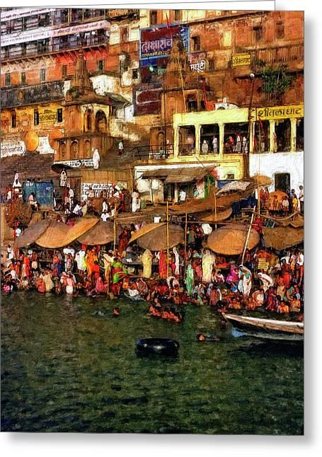 Sacred Digital Greeting Cards - The Holy Ganges impasto Greeting Card by Steve Harrington